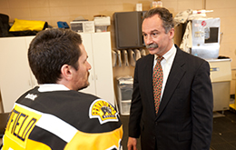 Dr. Fadale with Bruins hockey player